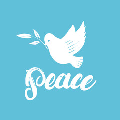 Peace hand written calligraphy lettering poster or card with dove.