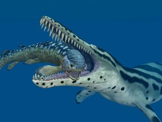 Kronosaurus attackiert Rhizodus