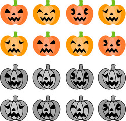 The cute icons of jack-o-lanterns