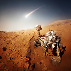 Mars Rover explores the red planet. Elements of this image furnished by NASA.