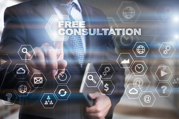 """Businessman is pressing on the virtual screen and selecting """"Free consultation""""."""
