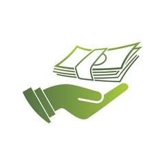 Hand holds cash bag in money symbol