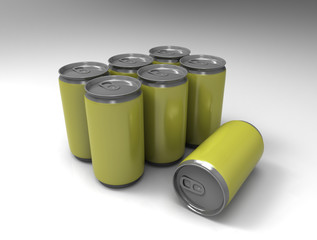 Yellow cans on background.