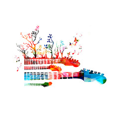 Creative music concept vector illustration, colorful instruments, guitar fretboards with trees and butterflies. Design for poster, card, brochure, flyer, concert, music festival, music shop