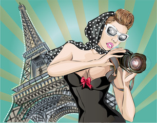 Pin-up sexy woman in black dress takes pictures on camera near Eiffel Tower in Paris. Pop Art vector
