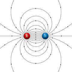 Electric field lines of two opposing charges separated by a finite distance. Physical dipole, two poles, made by electric equal charged balls. Red plus and blue minus points. Illustration over white.