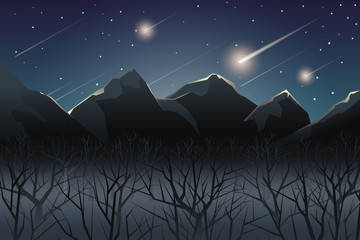 meteor shower over mountain at night