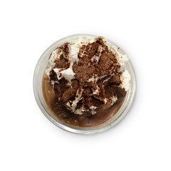 Chocolate smoothies (Cocoa blended) topped with whipped cream an