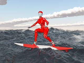 Female robot on a surfboard
