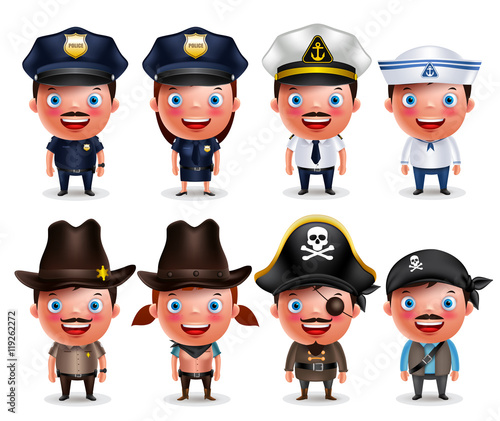 581421773d3 Police, seafarers, captain, sheriff, cowgirl and pirates vector ...