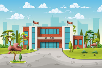 Illustration of a school building in cartoon style
