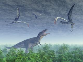 Dinosaur Tyrannotitan and pterosaur Quetzalcoatlus