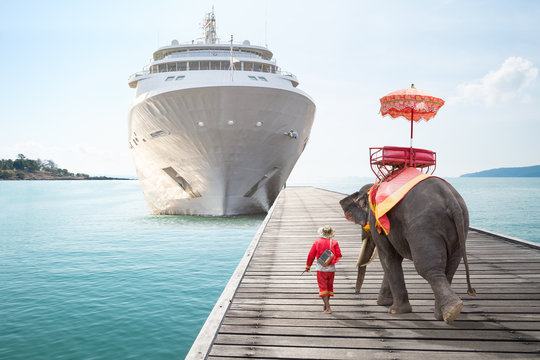 Elephant waiting tourists from cruise ships for ride tour