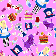 Alice in Wonderland pattern. Fat woman and Cheshire cat. Rabbit