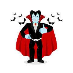 Dracula Thumbs up shows well. Vampire winks. Sign all right. Jol