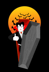 Dracula in coffin Thumbs up shows well. Vampire winks. Sign all