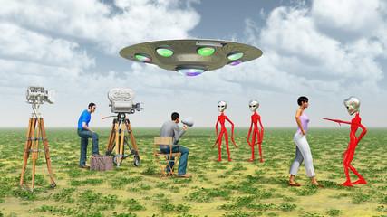 Dreharbeiten mit Außerirdischen
