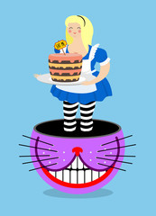 Alice in Wonderland and Cheshire Cat. Old fat woman and shabby f
