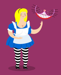 Old fat Alice Alice in Wonderland and Cheshire Cat. Woman and sh