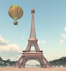 Eiffelturm und Fantasie Heißluftballon