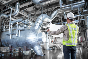 Engineer working at thermal power plant factory
