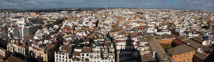 Panorama of the historical centre of Seville in Andalusia, Spain