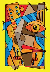 Foto op Canvas Klassieke abstractie cubism fotobeer style.