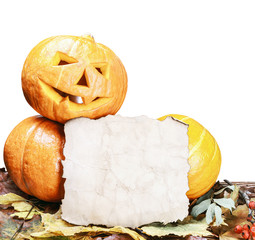 pumpkins for Halloween and sheet of paper isolated