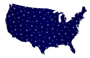 USA Map Star Silhouette
