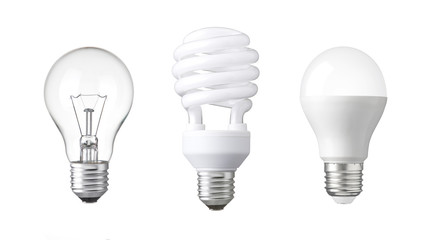 evolution of Light bulb. tungsten bulb, fluorescent bulb and LED