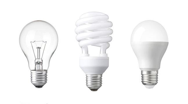 evolution of Light bulb. tungsten bulb, fluorescent bulb and LED