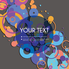Colorful Abstract Spotted Rings Pattern Background with Transparent Label for Your Text