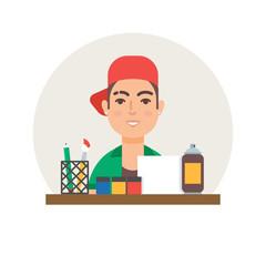 Hobby - art. Modern artist vector illustration flat style