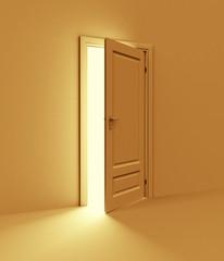 Orange room with opened door. 3d illustration