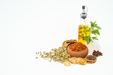 Group of indian spices and herbs on white background, normal vie