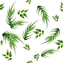 watercolor painting green leaf seamless pattern illustration