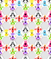 Cartoon birds in different subjects, and signatures. Seamless pattern.