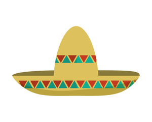 mexican hat male fashion style celebration icon. Flat and isolated design. Vector illustration