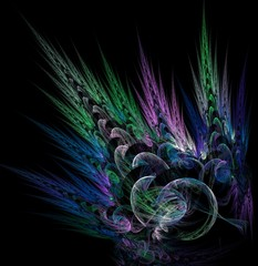 fractal feather and bubbles