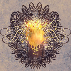 fire skull on graphic background with grunge texture,illustration art