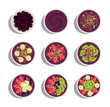 delicious and healthy menu of acai bowl flavors variation