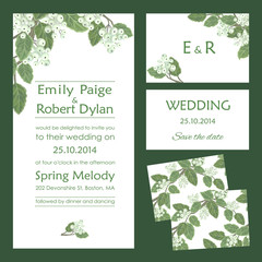 Set of wedding cards with white berries