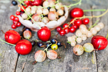 Currants, cherries and other summer fruits with old wood texture