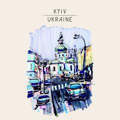 original marker urban sketch on paper of Kyiv Podol landscape wi