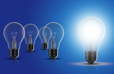 Light bulbs on a blue background