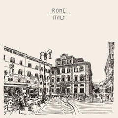 original sketch hand drawing of Rome Italy famous cityscape, tra
