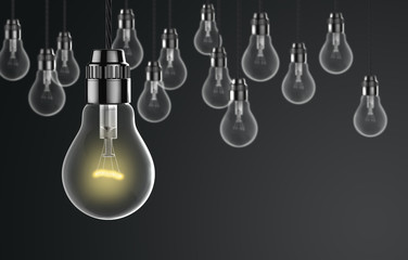 Light bulbs on a dark background
