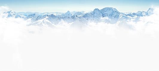 Zelfklevend Fotobehang Bergen Panorama of winter mountains