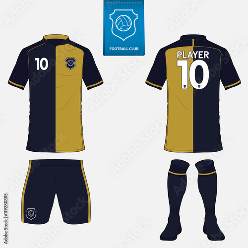 Set of Football kit or soccer jersey template for soccer club. Flat soccer  logo on blue label. Front and back view soccer uniform. Soccer apparel mock  up. 81d84f00c