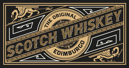 Retro whiskey label. Vector